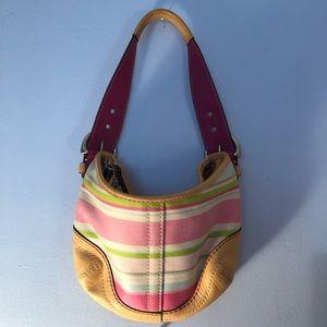 Small multi color striped coach purse
